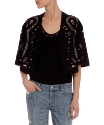 Black cut-out cropped jacket