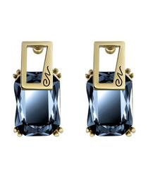 18ct gold-plated crystal blue earrings