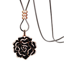 Black crystal rose necklace