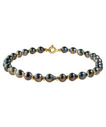 1.1cm Tahitian pearl & gold bracelet