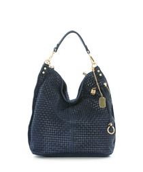 Blue & gold-tone leather weave bag