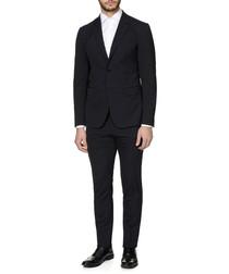 2pc black wool blend suit