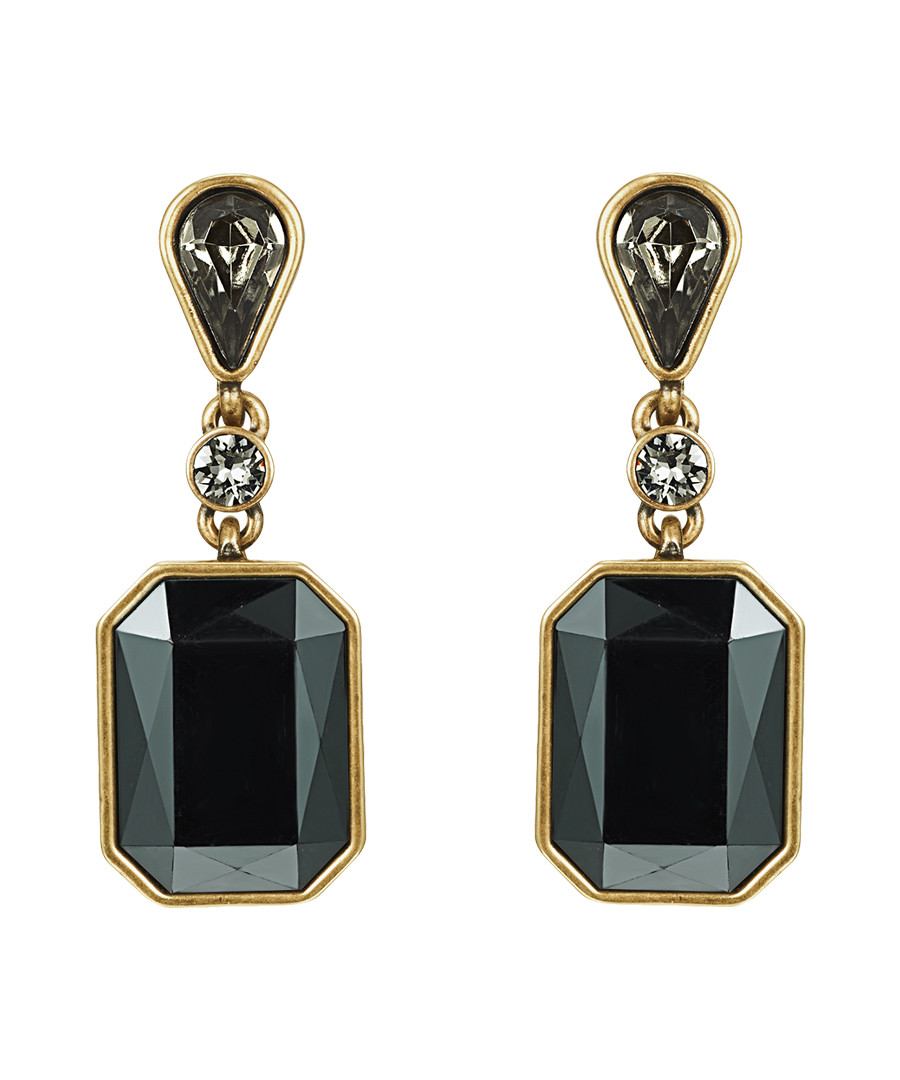 Bronze & black crystal drop earrings Sale - lilly & chloe