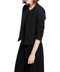 Lavan black collarless tailored jacket