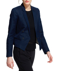 Lina navy cotton & linen blend blazer