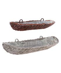 Image of 2pc brown rattan weave wall trough