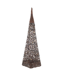 Image of Brown rattan obelisk with lights 100cm