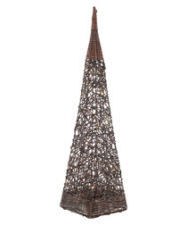 Image of Brown rattan obelisk with lights 120cm