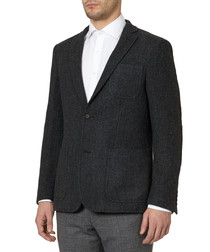 Grey wool textured slim fit jacket