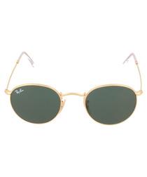 Green & gold-tone round sunglasses