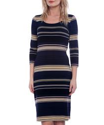 Navy & cream striped knee length dress