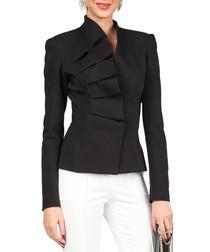 Black cotton blend pleated blazer