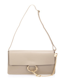 Taupe leather & gold-tone shoulder bag