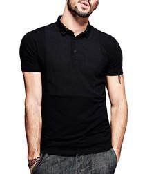 Black cotton blend polo shirt