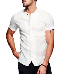 White cotton blend band collar shirt