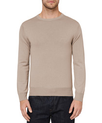 Sand pure wool round neck jumper
