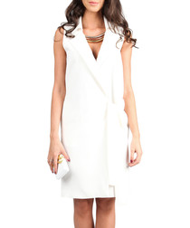 White sleeveless wrap lapel dress