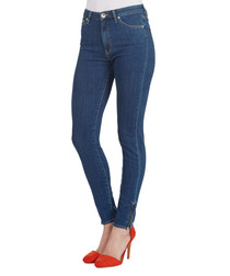 Blue cotton blend skinny jeans