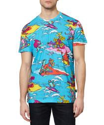 Blue cotton surf cartoon T-shirt