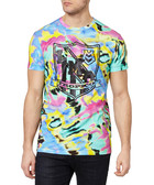 Multi-coloured cotton tie-dye T-shirt