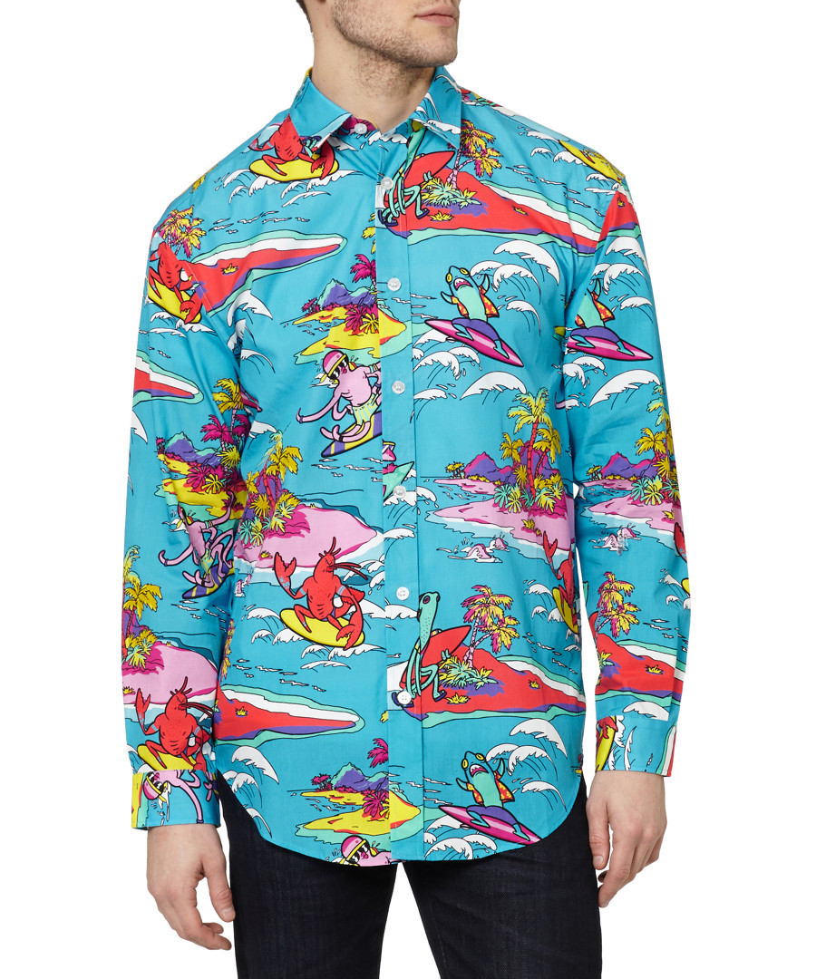 love moschino blue cotton surf long sleeved shirt designer sale love moschino for men at. Black Bedroom Furniture Sets. Home Design Ideas