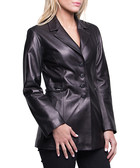Women's Lea black leather button jacket