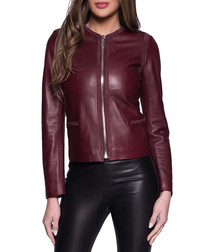 Zlata Bordeaux leather jacket