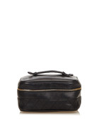 Quilted leather black vanity bag
