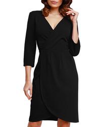 Black V-neck wrap dress