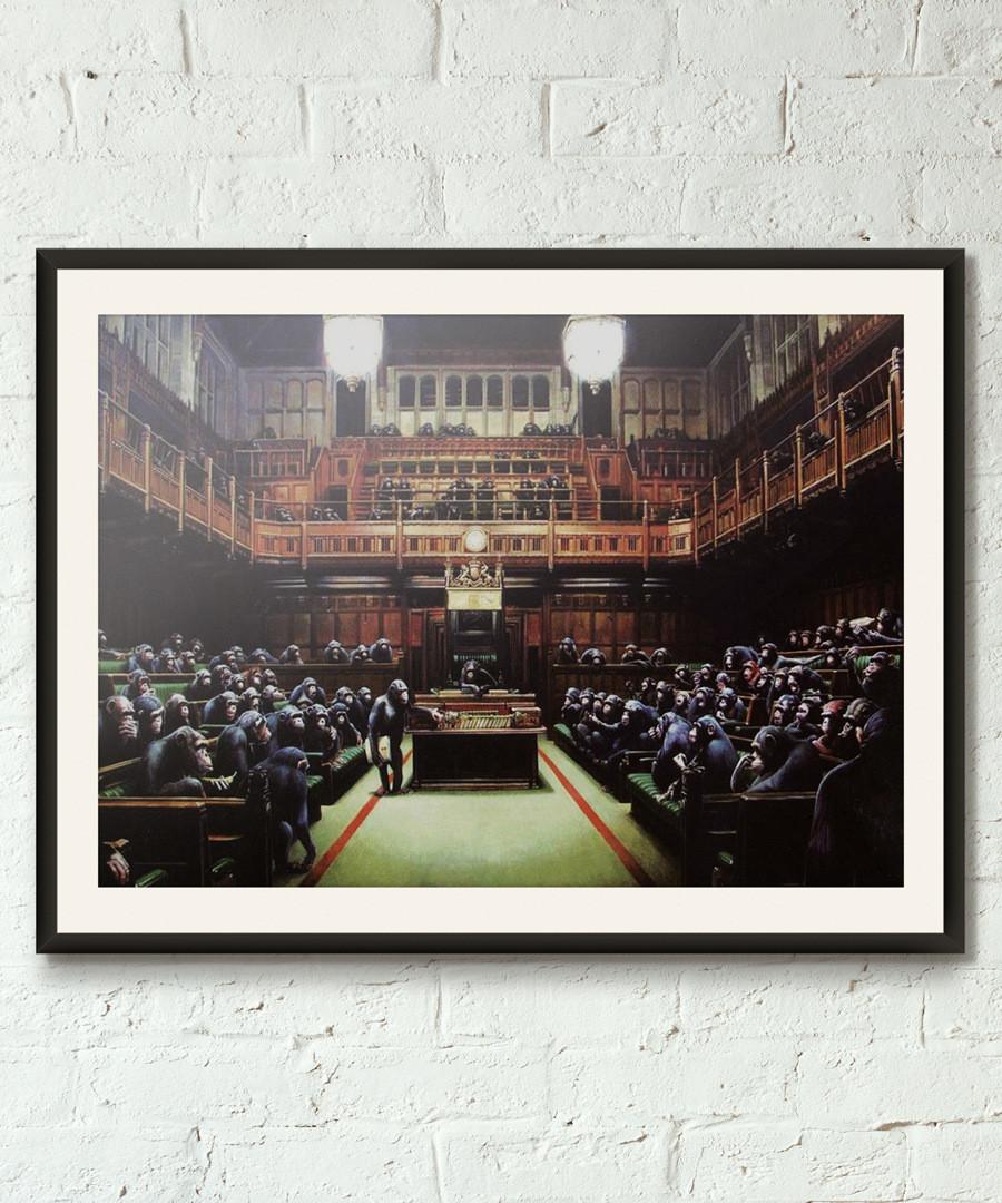 Monkeys Of Parliament framed print 40cm Sale - banksy