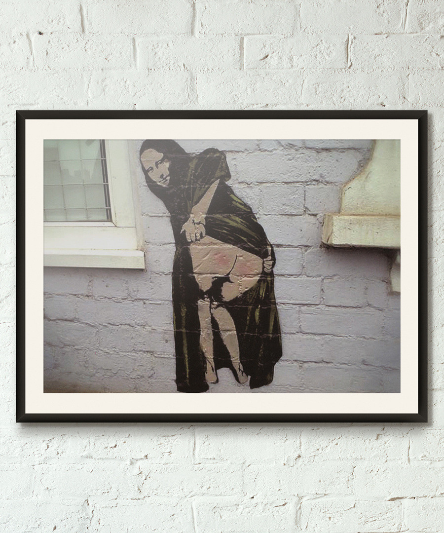 Mooning Lisa framed print 40cm Sale - banksy