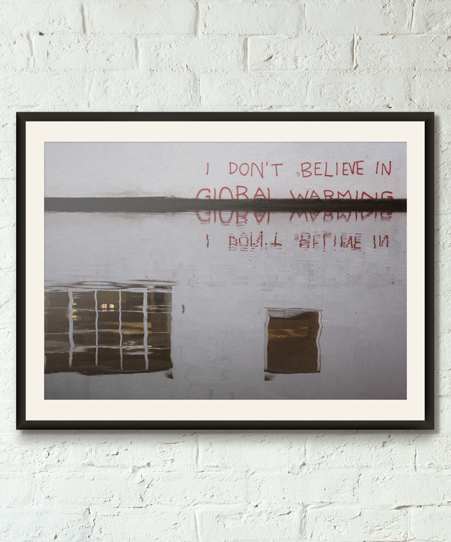 Global Warning Sceptic framed print 40cm Sale - banksy