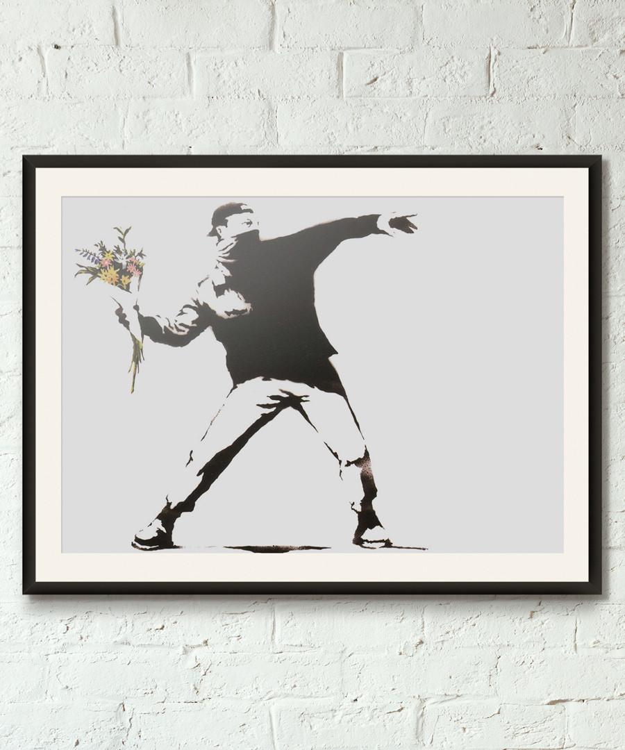 Molotov Bouquet framed print 40cm Sale - banksy
