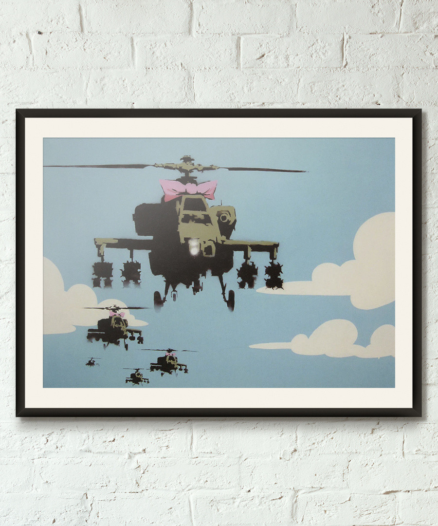 Happy Helicopters framed print 40cm Sale - banksy