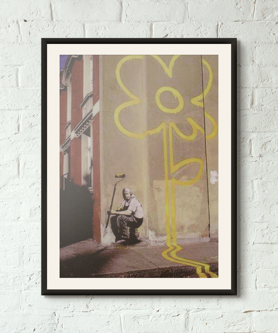 Yellow Flower framed print 40cm Sale - banksy
