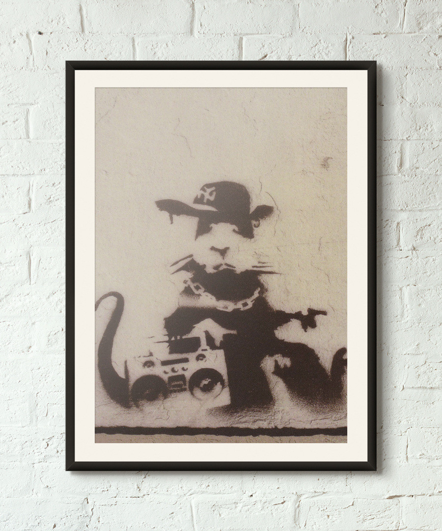 Ghetto Rat framed print 40cm Sale - banksy