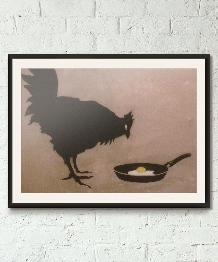 Chicken And Egg framed print 40cm Sale - banksy