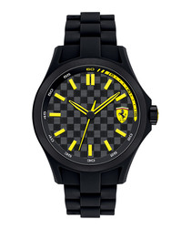 Pit Crew black & yellow steel watch