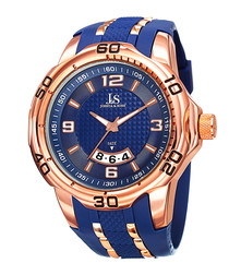 Rose gold-tone & blue silicone watch
