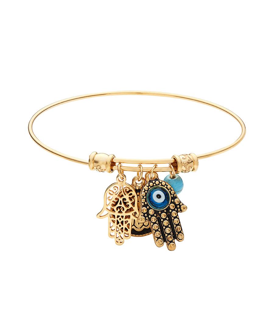 18k gold-plated hamsa charm bracelet Sale - chloe collection by liv oliver