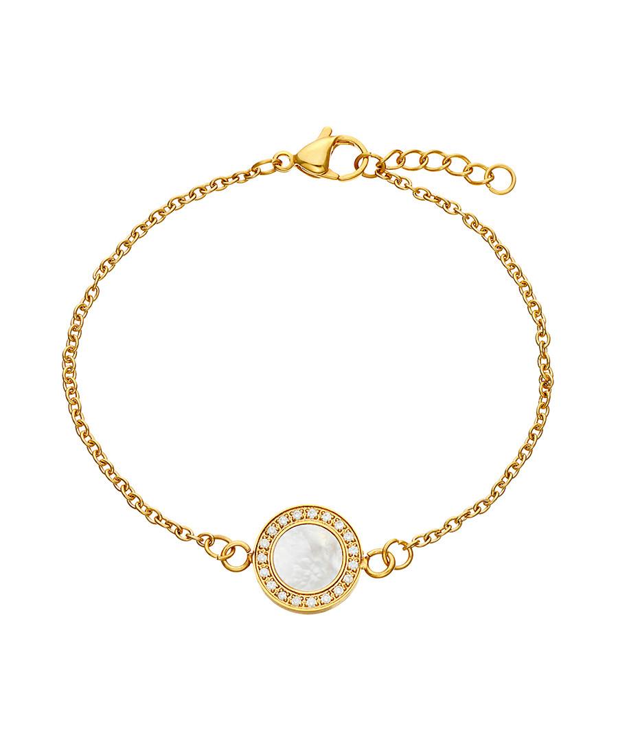 18k gold-plated crystal disc bracelet Sale - liv oliver