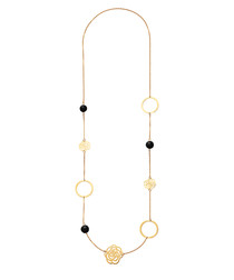 18k gold-plated onyx necklace