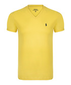 Yellow pure cotton V-neck T-shirt