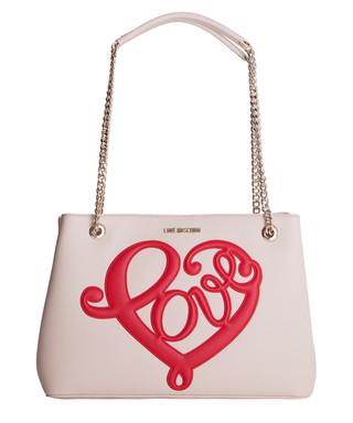 1c2fe08c8c9fa Cream love heart shoulder bag Sale - Love Moschino Sale