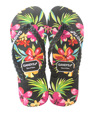 792f14e60c277a Gandys. Men s Tropical Flower black flip flops