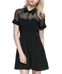 Black sheer short-sleeved skater dress