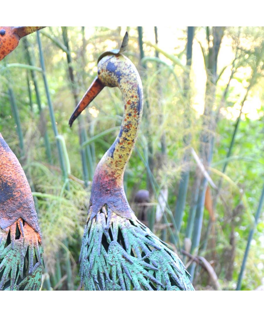 Yellow necked metal stork figure Sale - adobe