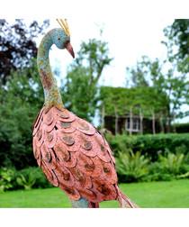 Orange metal reflecting peacock figure
