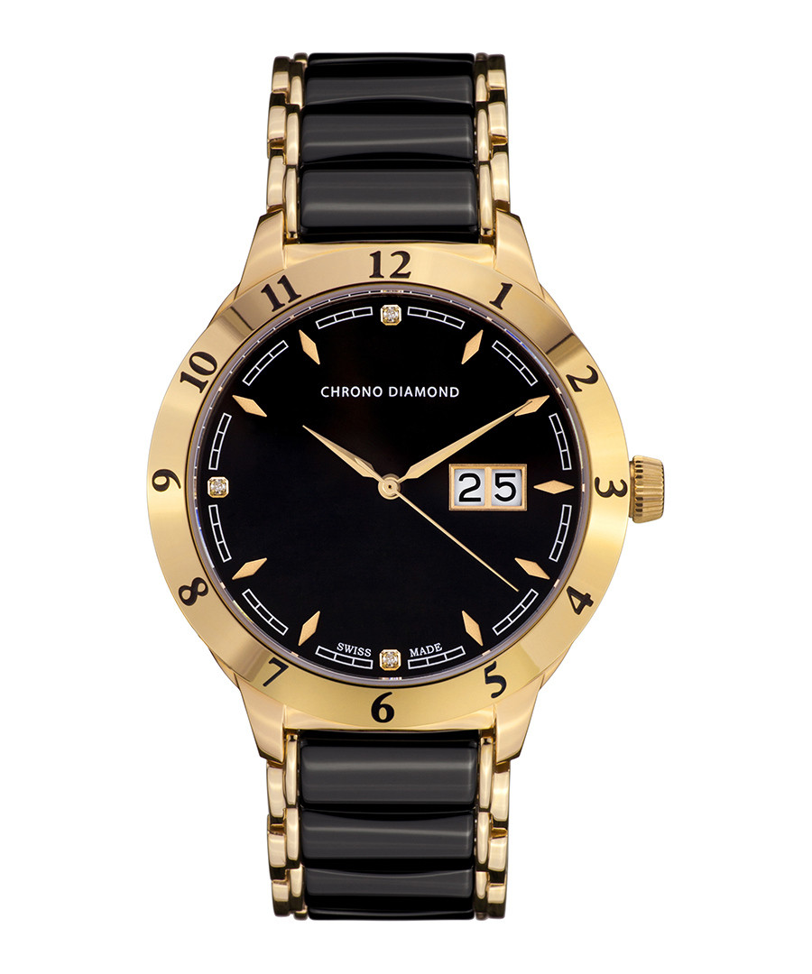Thyrso black & gold-tone diamond watch Sale - chrono diamond