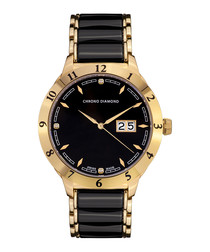 Thyrso black & gold-tone diamond watch
